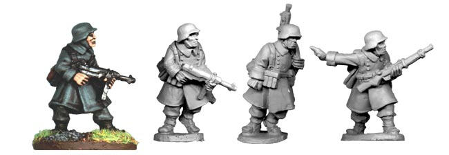 German N.C.O.s and LMG Team in Greatcoats